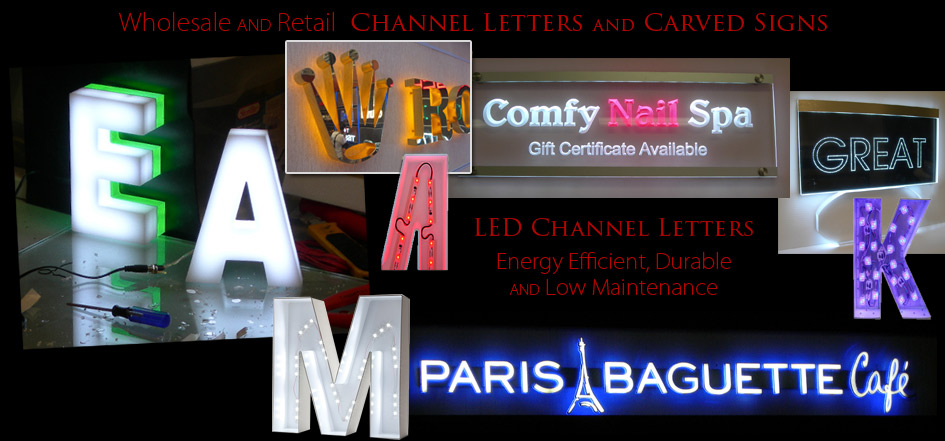 LED Channel Letters Carved Signs